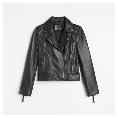Reserved - Kožená bunda typu biker - Černý