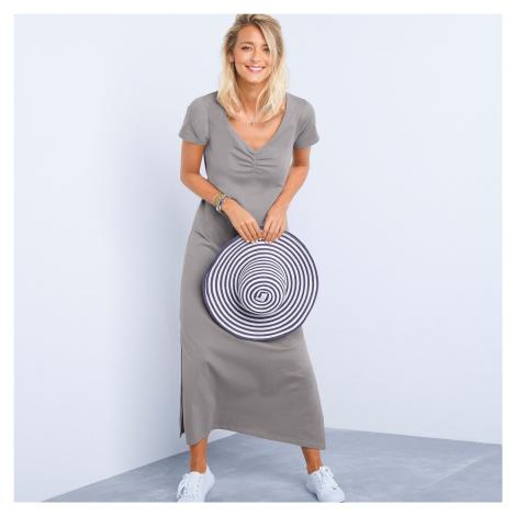 Blancheporte Dlouhé šaty s krátkými rukávy, jednobarevné šedá