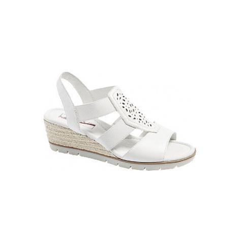 Bílé kožené komfortní sandály na klínku Medicus