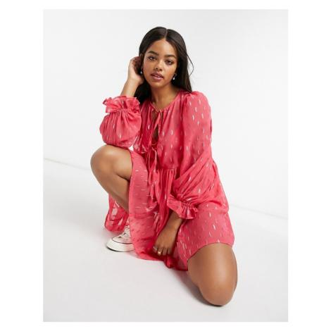 ASOS DESIGN smock mini dress in metallic spot-Pink