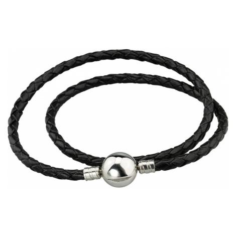 Linda's Jewelry Kožený náramek Dvojitý Černý Chirurgická ocel INR089 Délka: 19