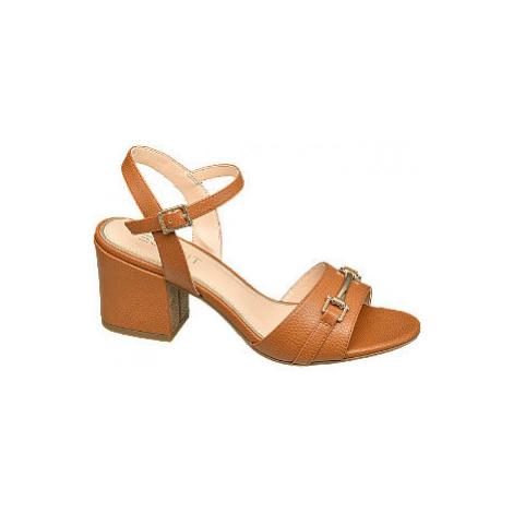 Hnědé sandály na podpatku Esprit