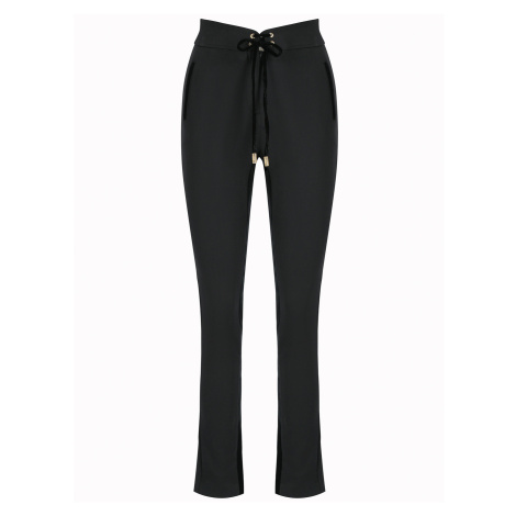 Černé vlněné slimfit kalhoty - CAVALLI CLASS Roberto Cavalli