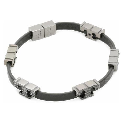 Náramek TORY BURCH - Serif-T Stackable Bracelet 80702 Hematite/Black/Crystal 002