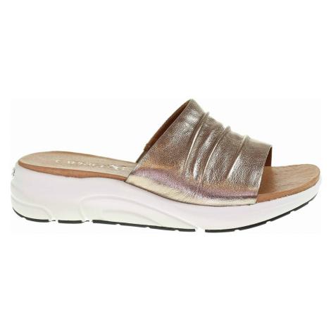 Caprice Dámské pantofle 9-27203-26 taupe metallic Zlatá