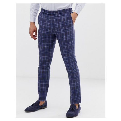 River Island suit trousers in blue check