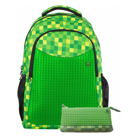 Pixie Crew školní batoh s penálem PXB-16 zelená kostka