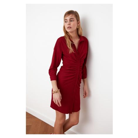 Trendyol Burgundy Pucker Detail Shirt Dress