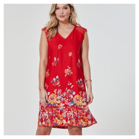 Blancheporte Šaty s krajkovým zakončením, červené červená