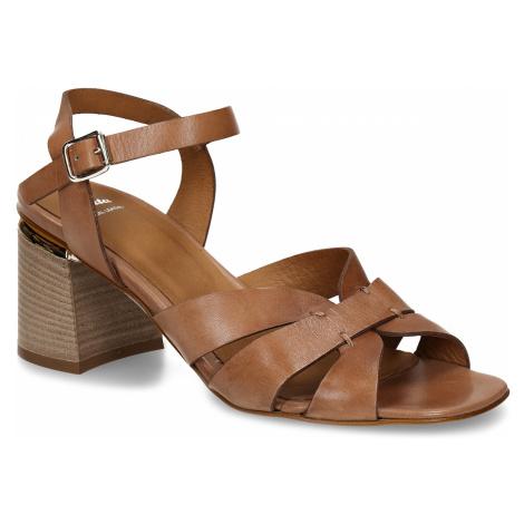 Hnědé dámské kožené sandály na širokém podpatku Baťa