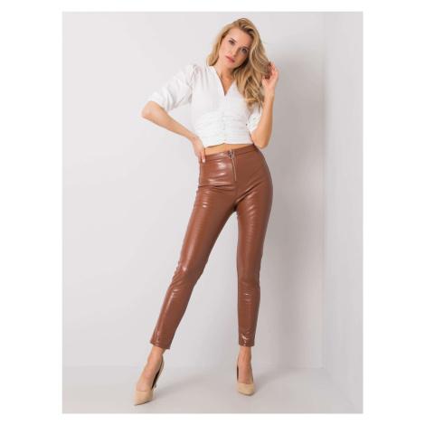 Hnědé kalhoty z umělé kůže FPrice