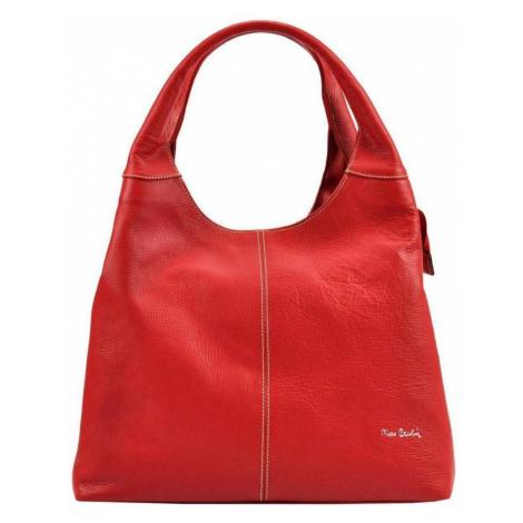 Pierre Cardin Kožená velká dámská kabelka přes rameno červená Červená