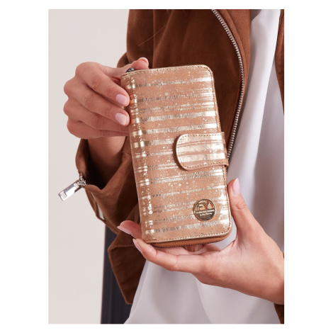Gold striped wallet with flap Fashionhunters