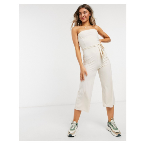 Miss Selfridge bandeau jumpsuit in stone