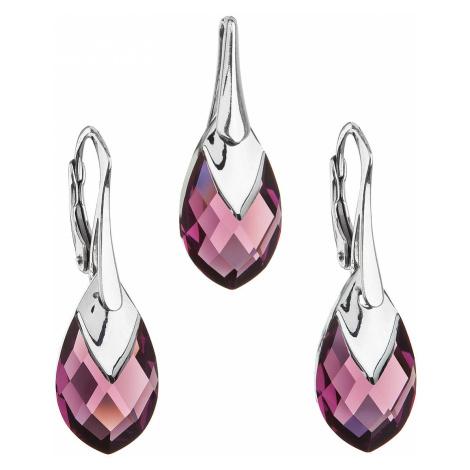 Sada šperků s krystaly Swarovski náušnice a přívěsek fialová slza 39169.4 amethyst Victum