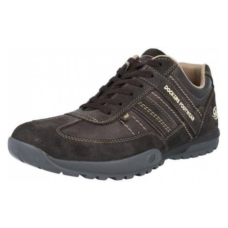 Dockers by Gerli Sportovní šněrovací boty čokoládová / antracitová