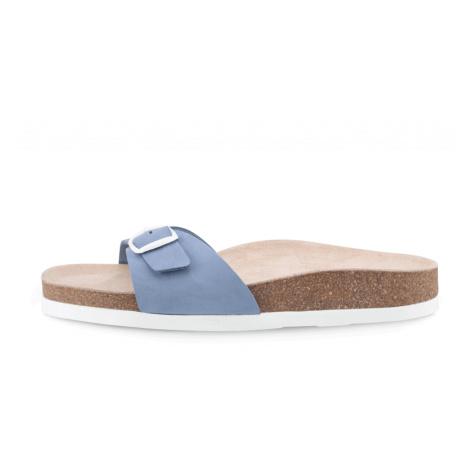 Vasky Line Blue - Dámské kožené pantofle modré, česká výroba