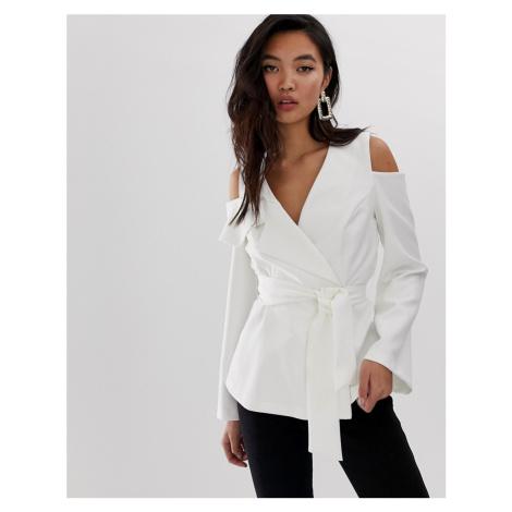 River Island cold shoulder blazer with belt in white-Cream
