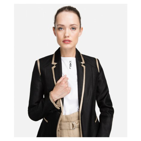 Blejzr Karl Lagerfeld Tailored Twill Blazer W/Piping - Černá