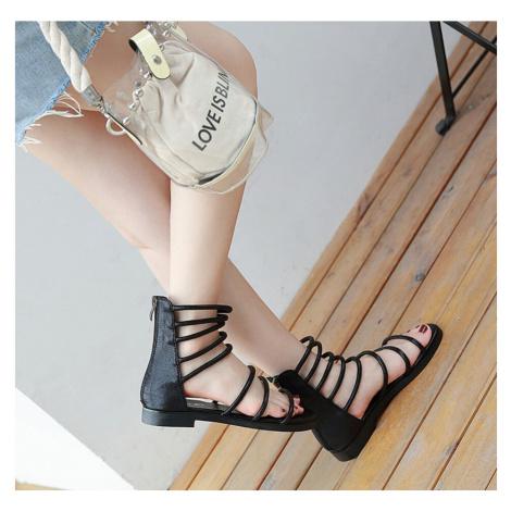 Sandály římský styl gladiátorky s plnou patou a otevřenou špičkou