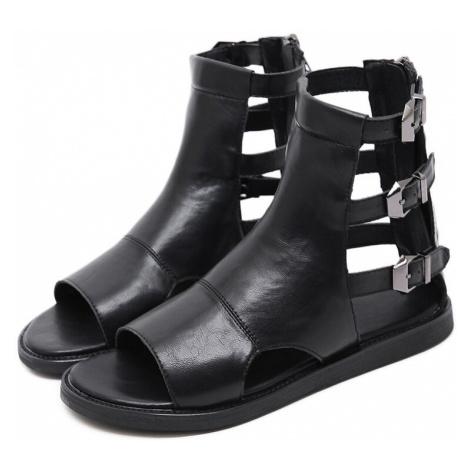Sandály v římském stylu s otevřenou špičkou a plnou patou