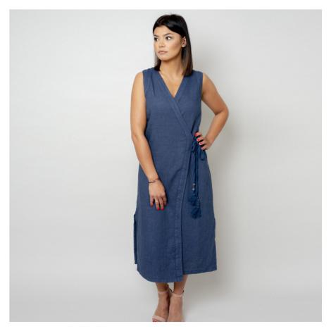 Dlouhé šaty tmavě modré barvy 10785 Willsoor