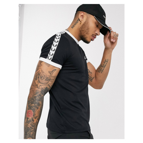 Fred Perry taped ringer t-shirt in black