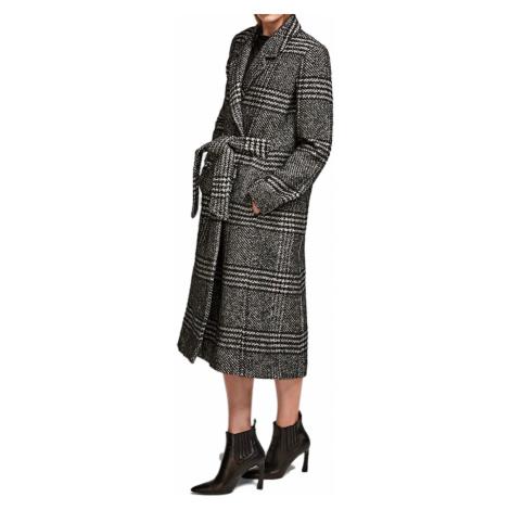 Šedo-černý vlněný kabát KARL LAGERFELD