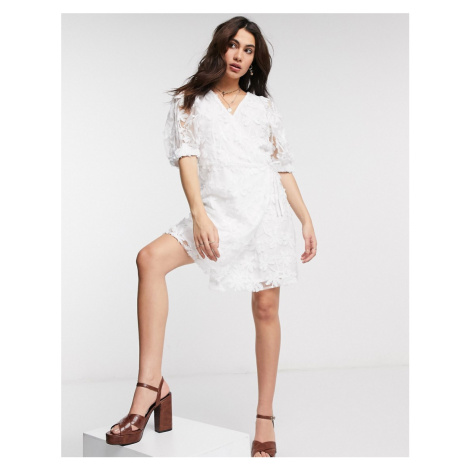 Object wrap organza dress with puff sleeves and sequin details in white