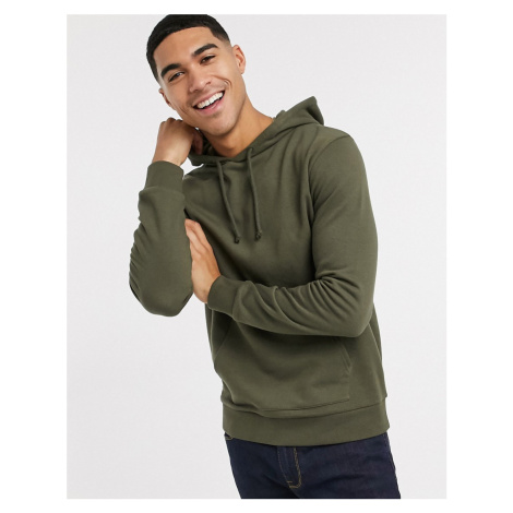 New Look lightweight basic hoodie in khaki-Green