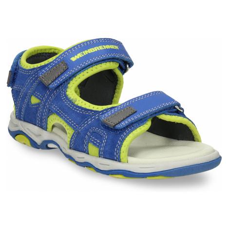 Dětské modré kožené sandály na suchý zip Weinbrenner