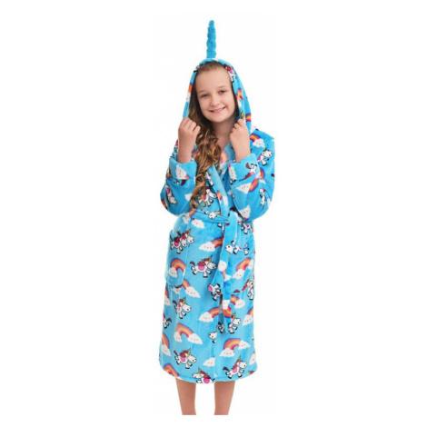 Dívčí plyšový župan s jednorožcem modrý