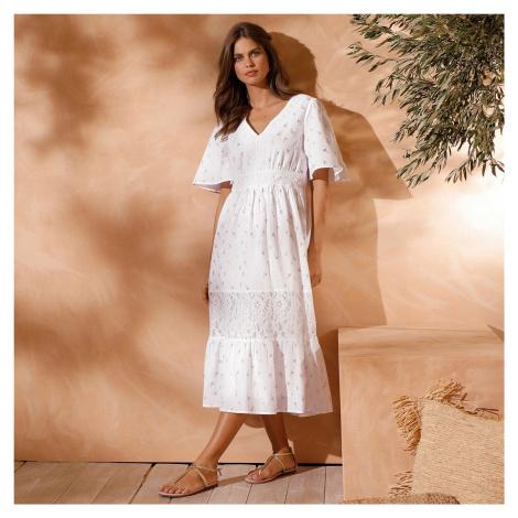 Blancheporte Voálové šaty se zlatým potiskem bílá/zlatá