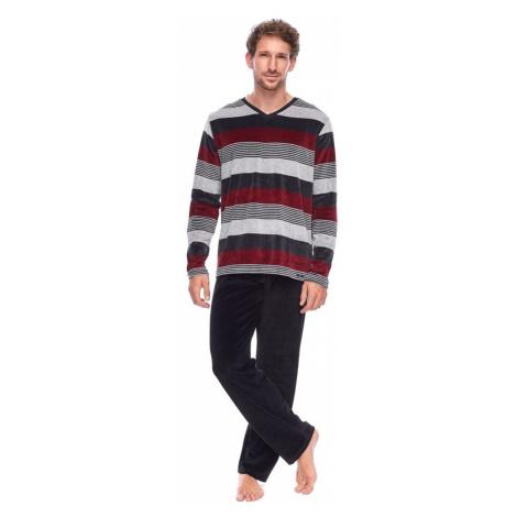 Rössli Pánské velurové pyžamo Harry pruhy Rossli