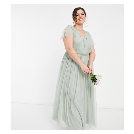 Anaya With Love Plus Bridesmaid tulle cap sleeve maxi dress in sage-Green