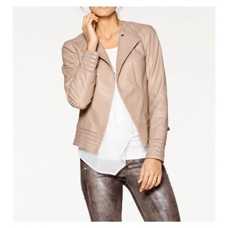 PATRIZIA DINI Designová jehněčí kožená bunda napa, tělová