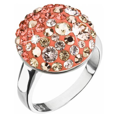 Evolution Group Stříbrný prsten s krystaly oranžový 35034.4