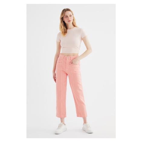 Trendyol Pink Stitch Detailed High Waist Mom Jeans