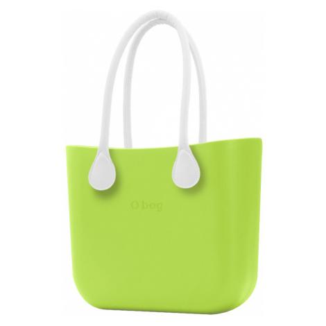 O bag kabelka Green Apple/Mela s bílými dlouhými koženkovými držadly