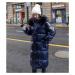 Zimní dlouhá bunda dlouhá lesklá parka s kapucí a kožíškem