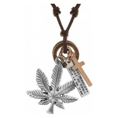 Náhrdelník - šňůrka z umělé kůže s přívěsky, list konopí, kříž, známka a kruhy Šperky eshop