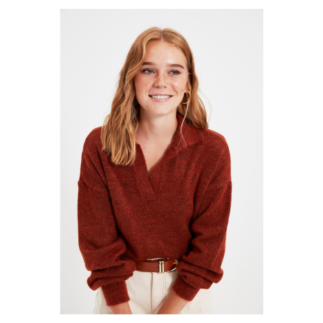 Trendyol Tan Polo Collar Knitwear Sweater