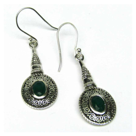 AutorskeSperky.com - Stříbrné naušnice se smaragdem - S4820