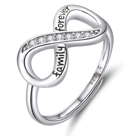 Linda's Jewelry Stříbrný prsten se zirkony Nekonečno Forever Family - Univerzální velikost IPR05