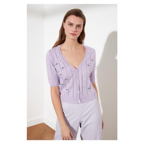 Trendyol Lila Embroidery V Collar Knitwear Cardigan