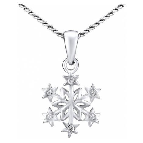 Silvego Stříbrný náhrdelník Sněhová vločka ZTJ81189VSW (řetízek, přívěsek)