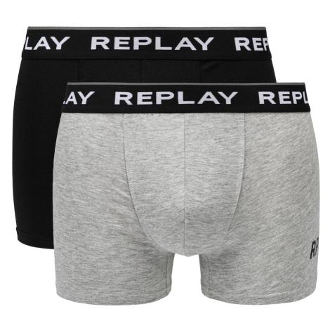Replay Boxerky Boxer Style 2 Cuff Logo&Print 2Pcs Box - Black/Grey Melange
