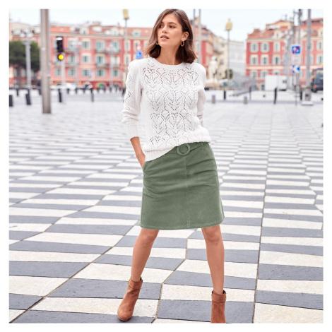 Blancheporte Manšestrová sukně s opaskem a sponou zelená