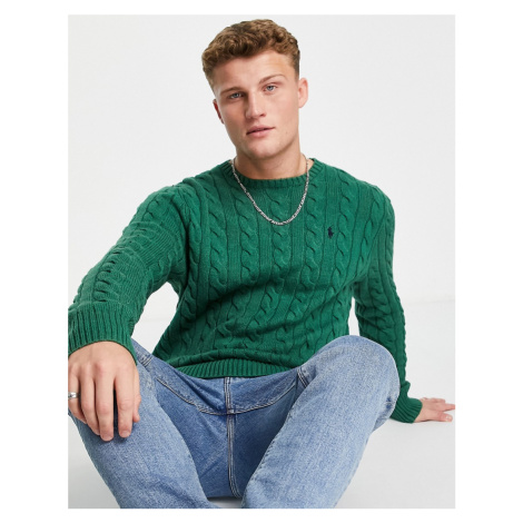 Polo Ralph Lauren icon logo cotton cable knit jumper in green marl