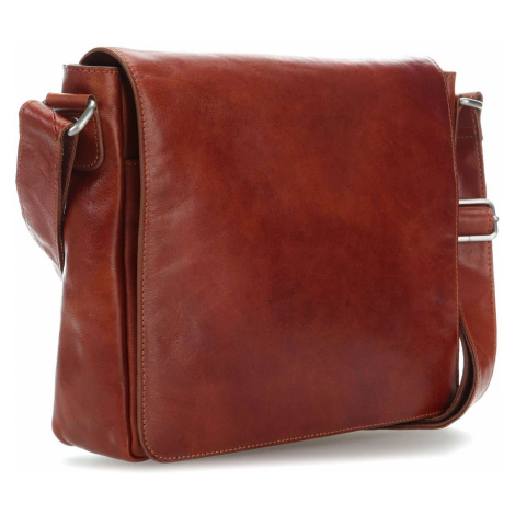 Hnědá kvalitní klopnová kožená taška na notebook Etienne